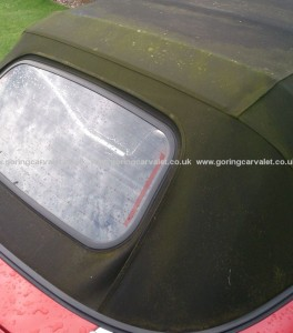 MX5 convertible roof before soft top treatment