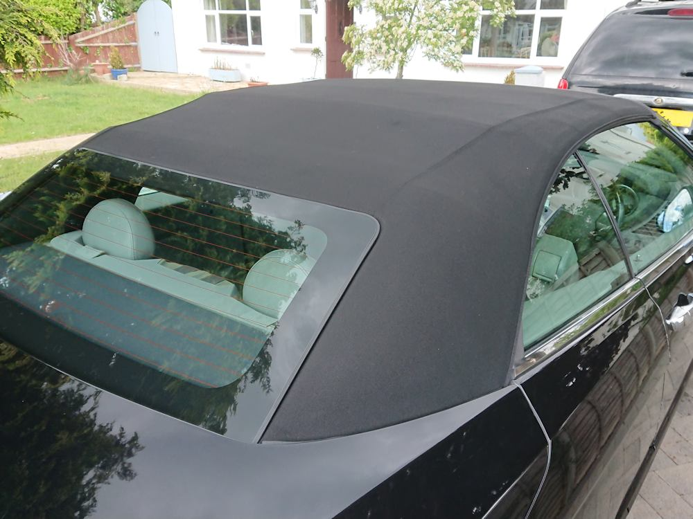 Chrysler Sebring convertible roof after clean, recolour and reproof