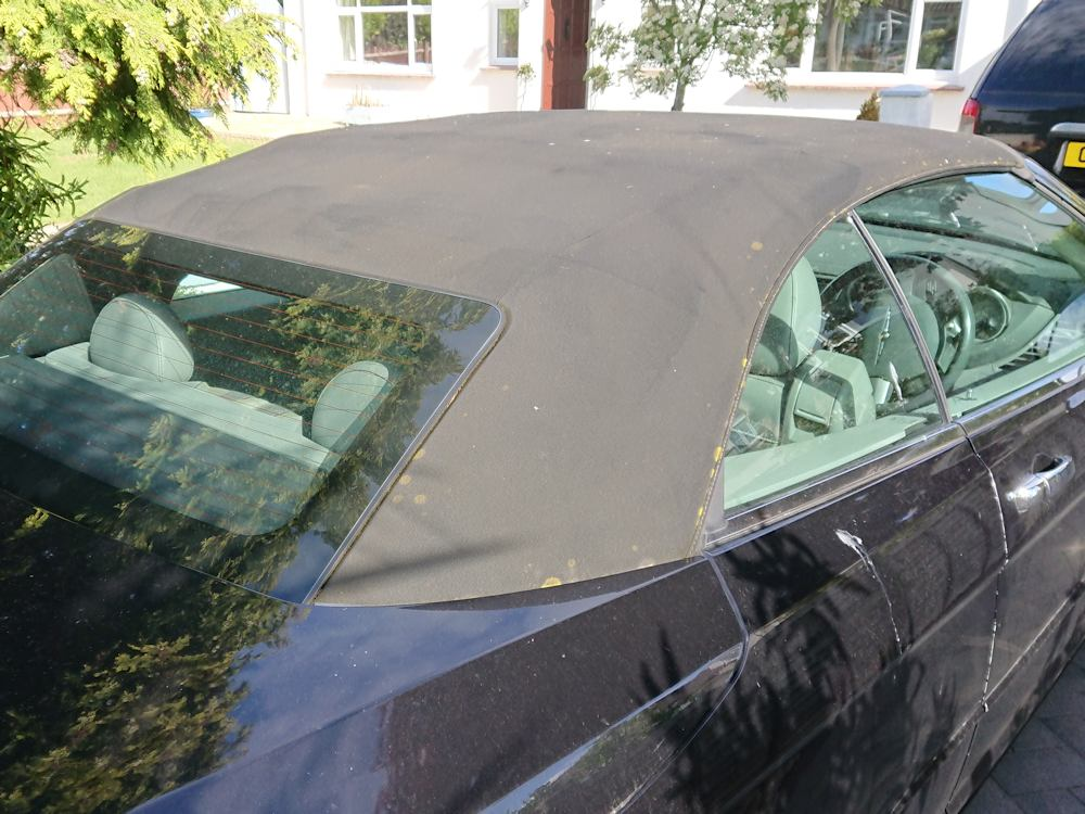Chrysler Sebring convertible roof before clean, recolour and reproof