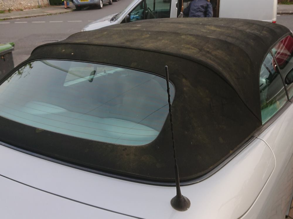 Saab 9-3 convertible roof before clean, recolour and reproof
