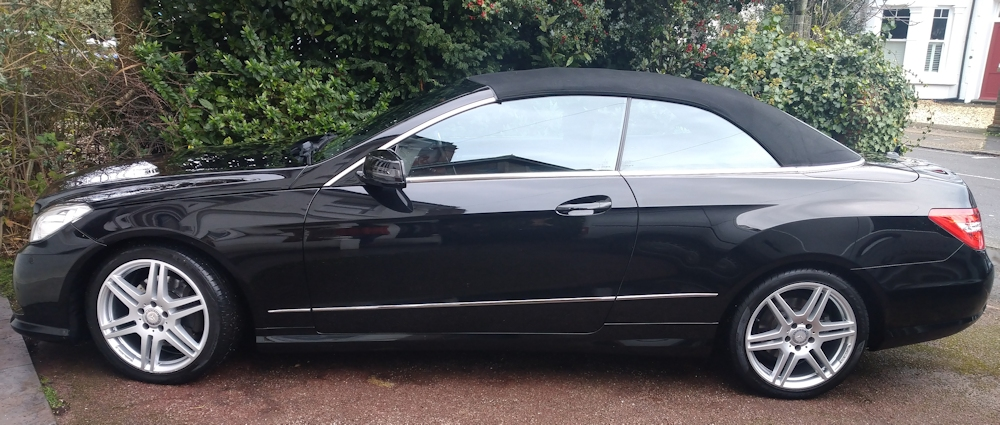 Mercedes E220 convertible after exterior platinum valet