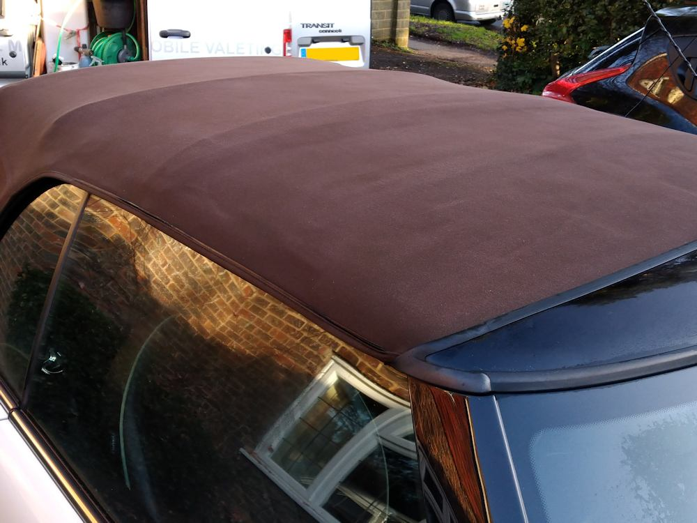 Mini convertible roof after deep clean and reproof