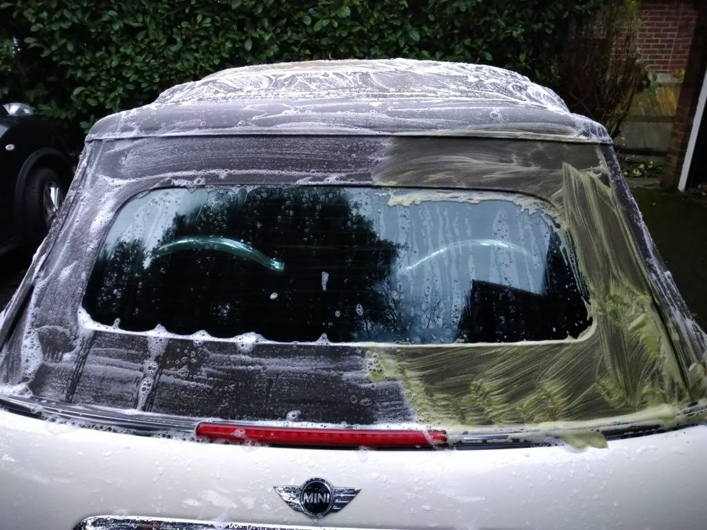 Mini convertible roof during deep clean and reproof